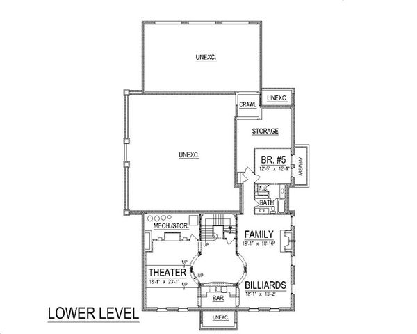 Colonial Floor Plan - Lower Floor Plan #458-6