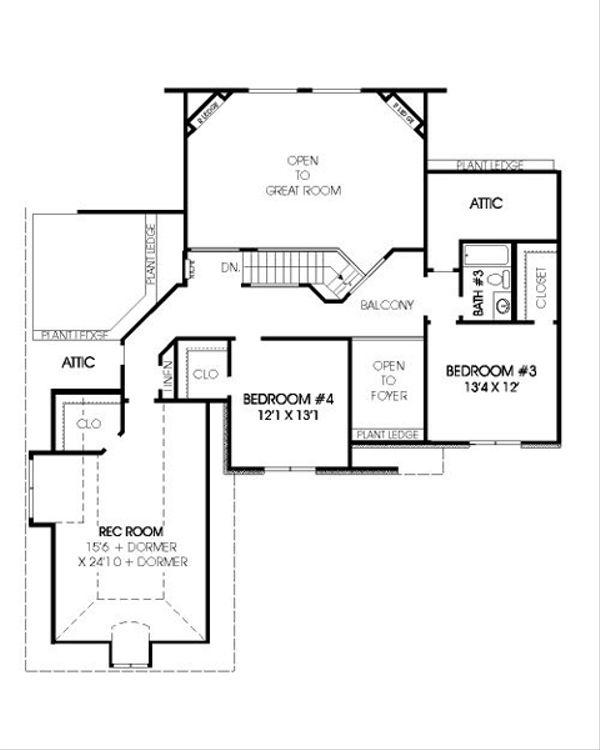 European Floor Plan - Upper Floor Plan Plan #424-268
