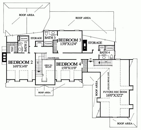Upper level floor plan- 3500 square foot Colonial Home