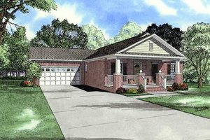 Southern Exterior - Front Elevation Plan #17-622