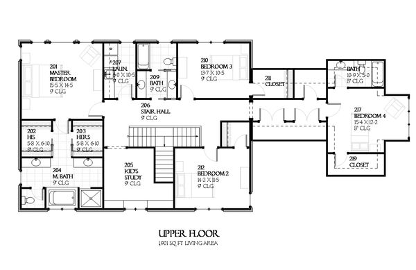 European Floor Plan - Upper Floor Plan #901-90