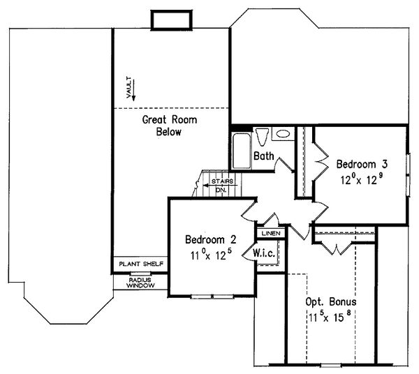 Traditional Floor Plan - Upper Floor Plan Plan #927-28