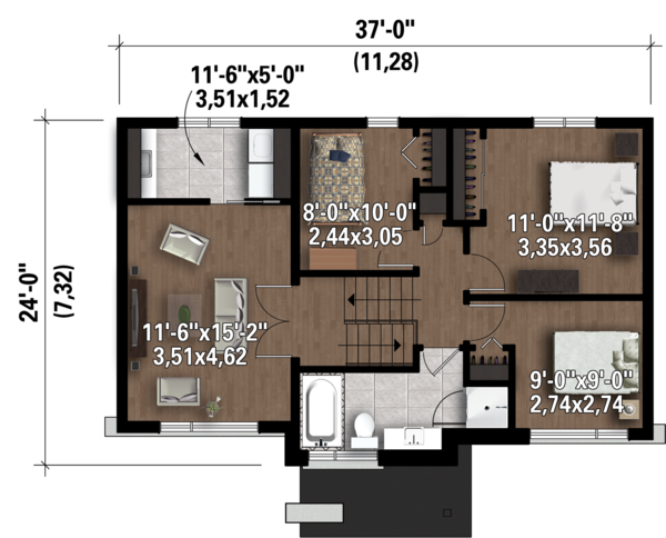 Contemporary Floor Plan - Upper Floor Plan Plan #25-4298