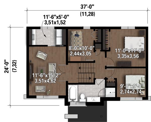 Contemporary Floor Plan - Upper Floor Plan Plan #25-4298
