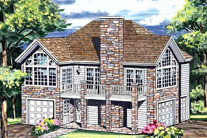 Craftsman Style House Plan - 1 Beds 1 Baths 1029 Sq/Ft Plan #456-12 Exterior - Front Elevation