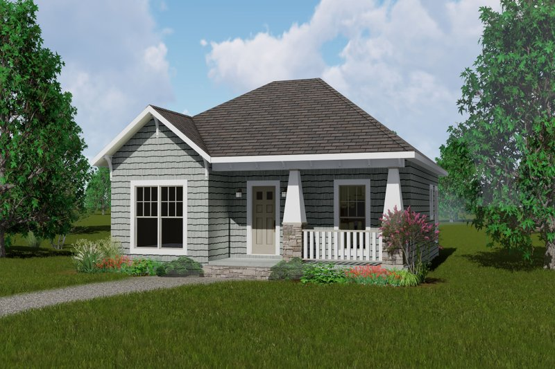 Cottage Style House Plan - 2 Beds 2 Baths 1073 Sq/Ft Plan #44-178 Exterior - Front Elevation