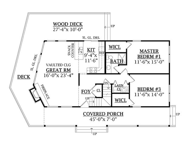 Log Floor Plan - Main Floor Plan #456-3
