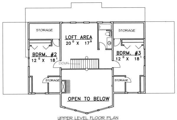 Bungalow Floor Plan - Upper Floor Plan Plan #117-580