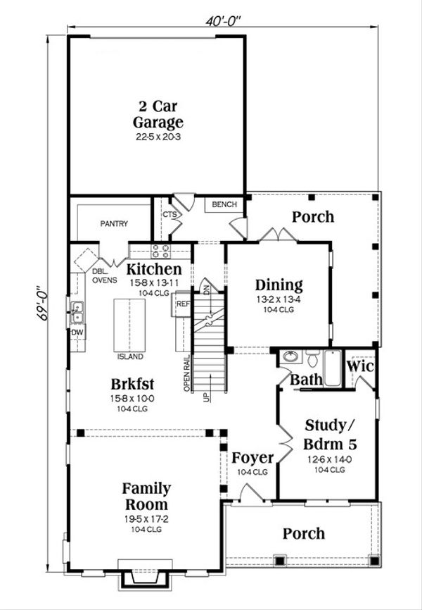 Colonial Floor Plan - Main Floor Plan Plan #419-251