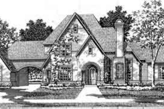 European Exterior - Front Elevation Plan #141-122