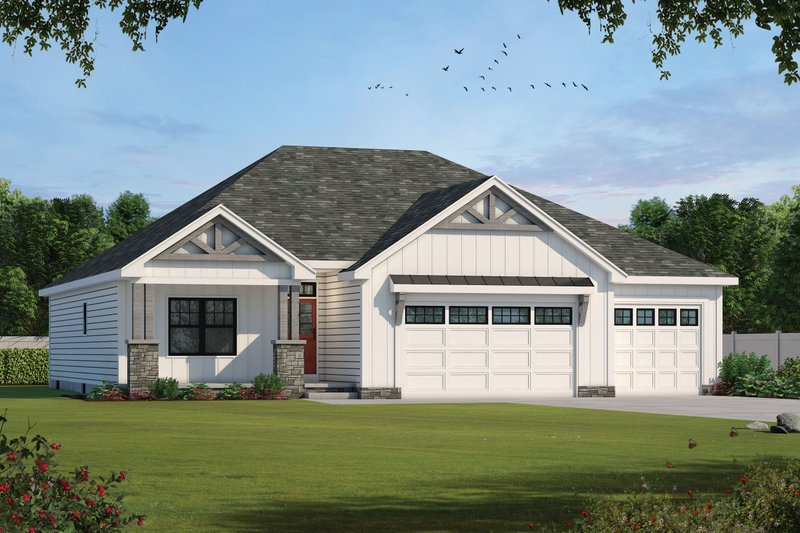 Farmhouse Style House Plan - 3 Beds 3 Baths 1936 Sq/Ft Plan #20-2351