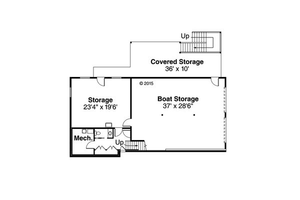 Craftsman Floor Plan - Lower Floor Plan Plan #124-1002