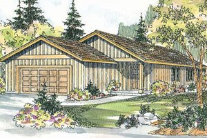 Ranch Exterior - Front Elevation Plan #124-724