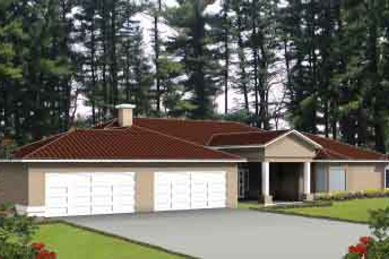 Adobe / Southwestern Style House Plan - 4 Beds 3 Baths 3521 Sq/Ft Plan #1-1103 Exterior - Front Elevation