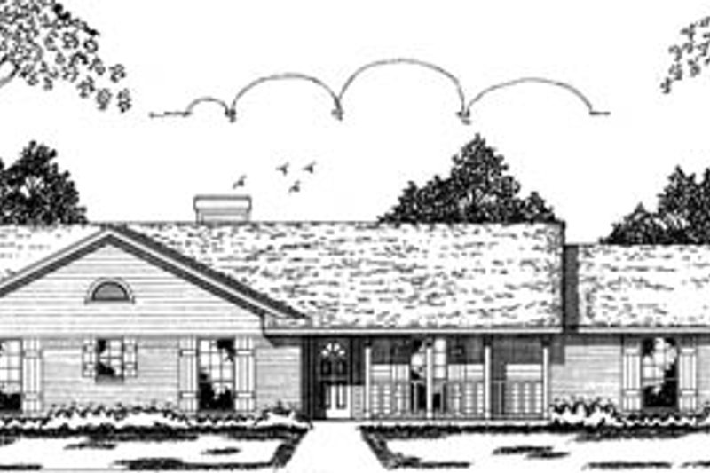 Ranch Style House Plan - 3 Beds 2 Baths 1277 Sq/Ft Plan #42-103 Exterior - Front Elevation