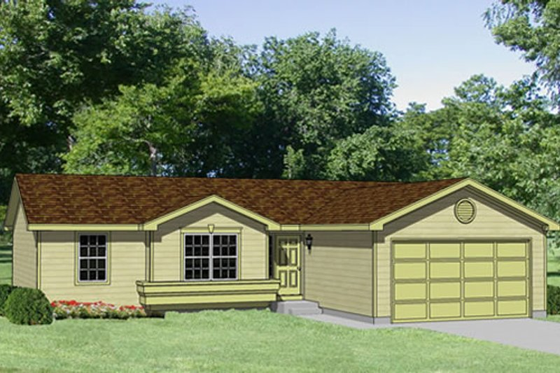 Ranch Style House Plan - 3 Beds 2 Baths 1201 Sq/Ft Plan #116-202 Exterior - Front Elevation