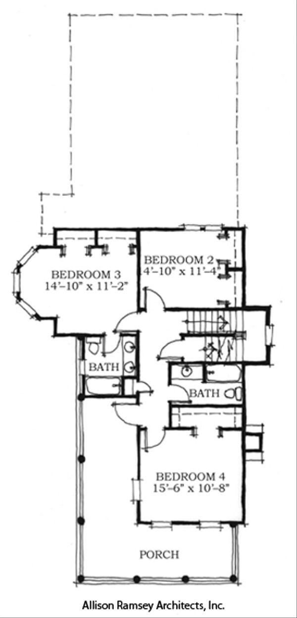 Southern Style House Plan - 4 Beds 3.5 Baths 2678 Sq/Ft Plan #464-1 Floor Plan - Upper Floor Plan