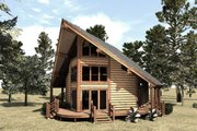 Log Style House Plan - 1 Beds 2 Baths 939 Sq/Ft Plan #451-9 Exterior - Front Elevation