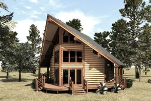 Log Exterior - Front Elevation Plan #451-9