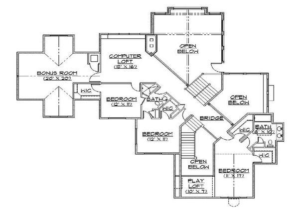 Colonial Floor Plan - Upper Floor Plan Plan #5-436