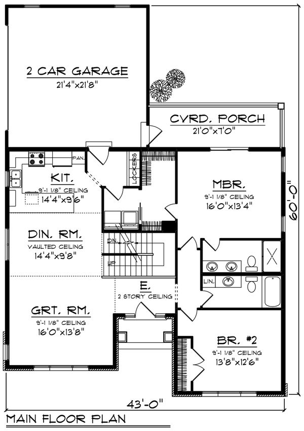 Ranch Floor Plan - Main Floor Plan Plan #70-1242