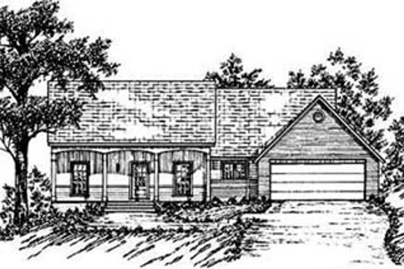 Ranch Exterior - Front Elevation Plan #36-125