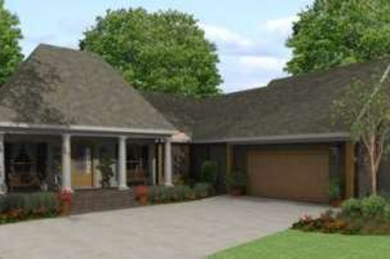 Southern Exterior - Front Elevation Plan #406-300 - Houseplans.com