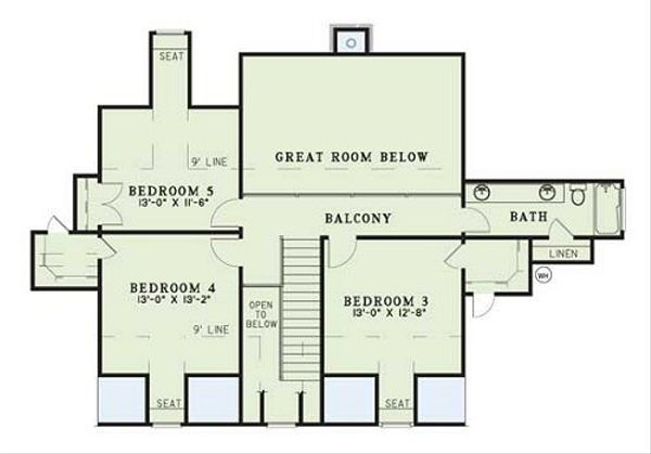 Country Floor Plan - Upper Floor Plan Plan #17-205