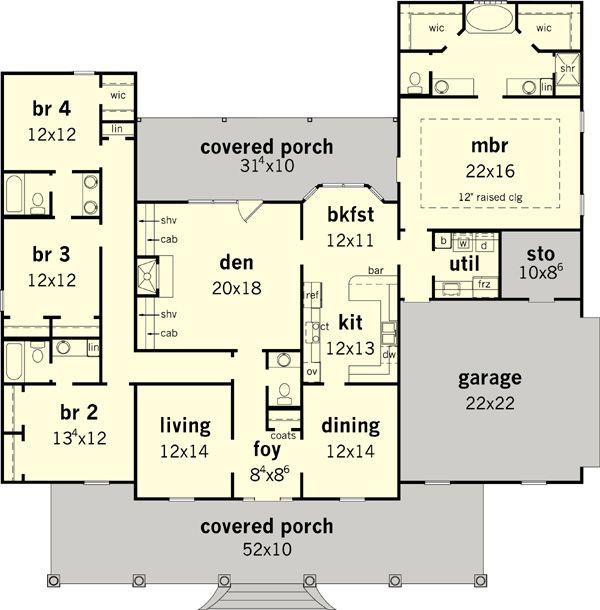 Southern Floor Plan - Main Floor Plan Plan #16-332