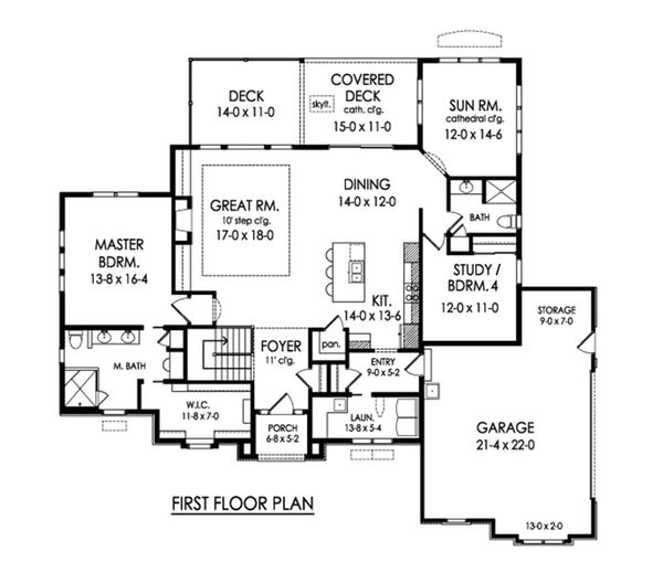 Ranch Floor Plan - Main Floor Plan Plan #1010-235