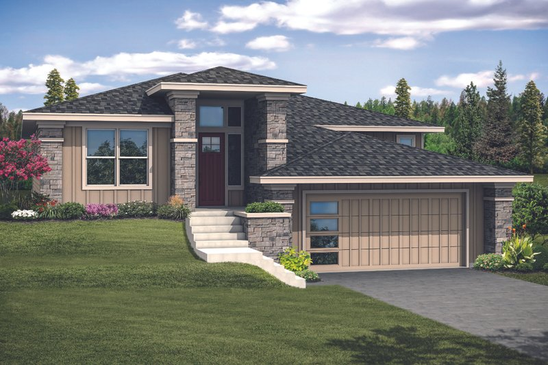 Prairie Exterior - Front Elevation Plan #124-1123