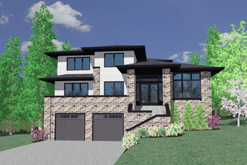 Modern Style House Plan - 3 Beds 2.5 Baths 2310 Sq/Ft Plan #509-49 Exterior - Front Elevation