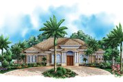 Mediterranean Style House Plan - 3 Beds 3.5 Baths 3218 Sq/Ft Plan #27-442 Exterior - Front Elevation