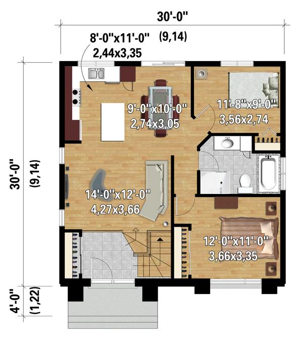House Plan Design - Contemporary Floor Plan - Main Floor Plan #25-4287