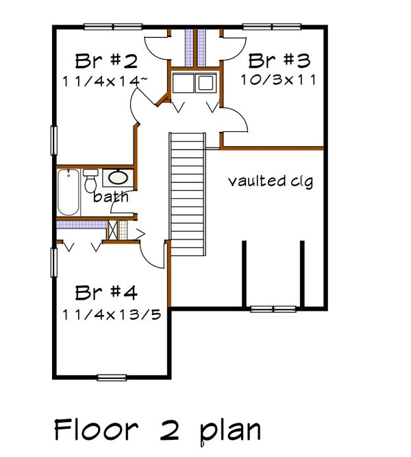 Craftsman Floor Plan - Upper Floor Plan #79-299