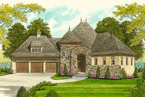 European Exterior - Front Elevation Plan #413-100