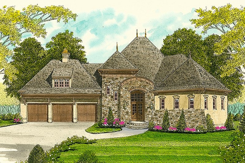 European Exterior - Front Elevation Plan #413-100 - Houseplans.com