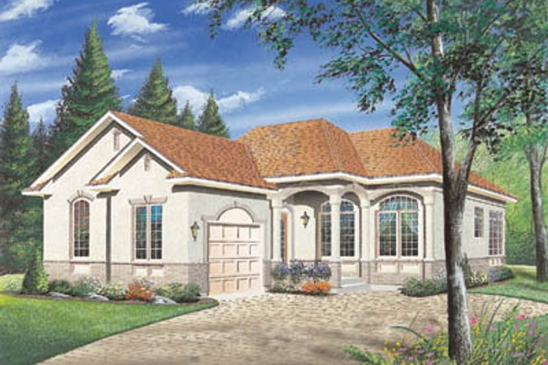 European Style House Plan - 2 Beds 1 Baths 1250 Sq/Ft Plan #23-1007 Exterior - Front Elevation