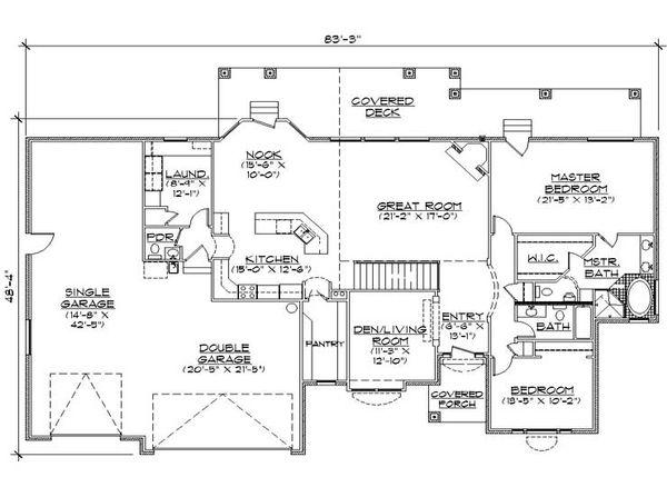 Architectural House Design - Traditional Floor Plan - Main Floor Plan #5-253