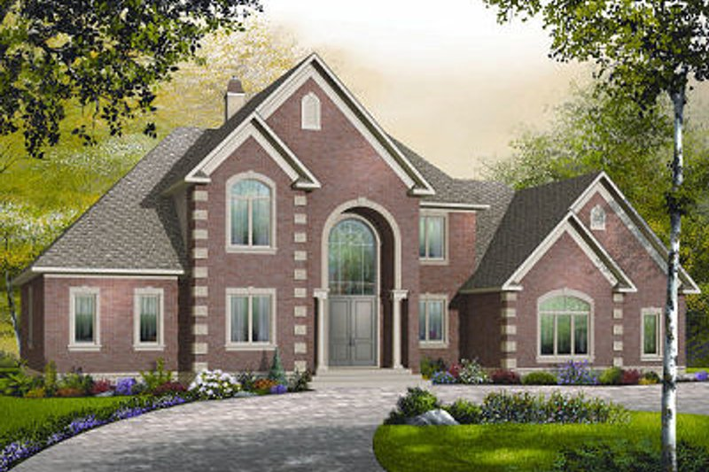 European Style House Plan - 5 Beds 3.5 Baths 3187 Sq/Ft Plan #23-828 Exterior - Front Elevation