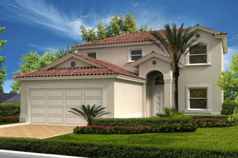 Mediterranean Style House Plan - 4 Beds 2.5 Baths 1695 Sq/Ft Plan #420-223 Exterior - Front Elevation