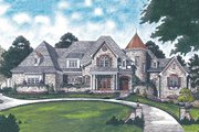 European Style House Plan - 6 Beds 5.5 Baths 7480 Sq/Ft Plan #453-23 Exterior - Front Elevation