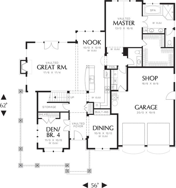 Craftsman style, Country house plan, main level floor plan