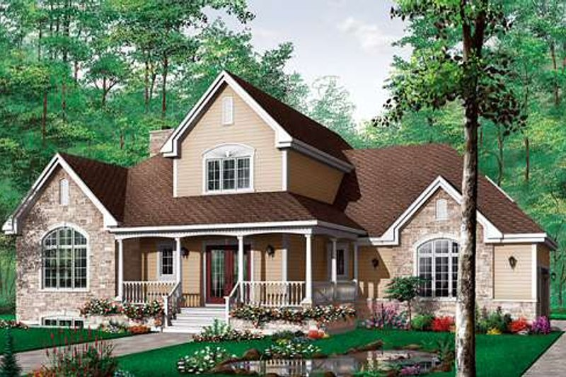 Farmhouse Style House Plan - 3 Beds 2.5 Baths 2204 Sq/Ft Plan #23-337 Exterior - Front Elevation