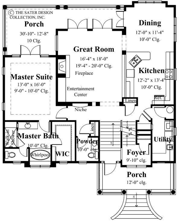 Mediterranean Floor Plan - Main Floor Plan Plan #930-16
