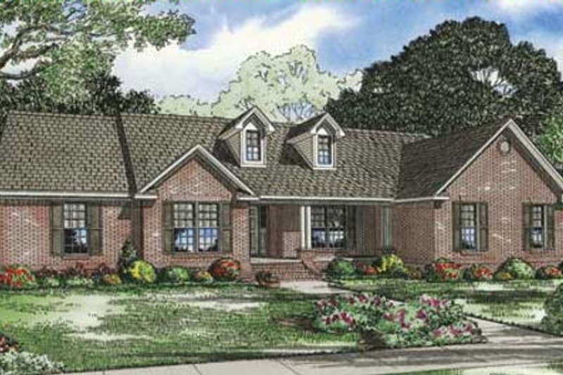 Traditional Style House Plan - 4 Beds 3.5 Baths 2487 Sq/Ft Plan #17-2289 Exterior - Front Elevation