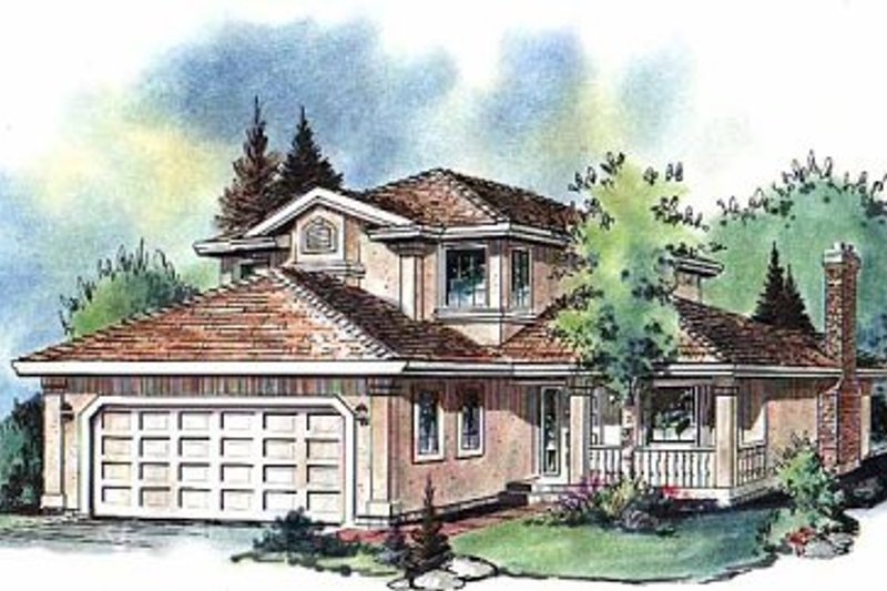 House Blueprint - European Exterior - Front Elevation Plan #18-203