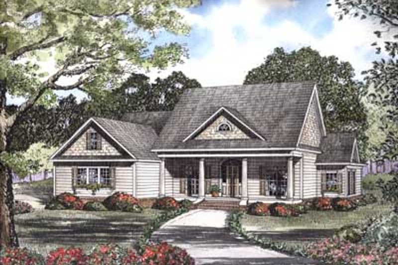 Farmhouse Style House Plan - 5 Beds 4 Baths 2716 Sq/Ft Plan #17-457 Exterior - Front Elevation