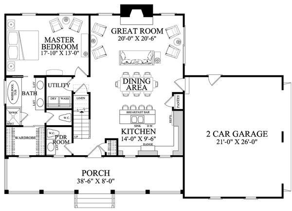 Country Floor Plan - Main Floor Plan #137-278