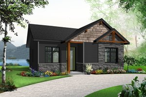 Cottage Exterior - Front Elevation Plan #23-2298